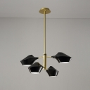 Gold Finish 2 Tiers Hanging Light Modern Design Metal 4 Lights Drop Ceiling Lighting for Restaurant