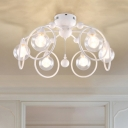 6 Lights Orb Flush Light Fixture with Halo Ring Modernism Glass Shade Flush Mount in White