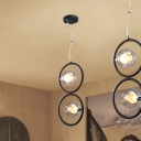 1/2/3 Lights Ball Hanging Light with Black Circle Contemporary Smoke Glass Chandelier Lamp