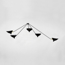 5 Lights Duckbill Ceiling Light Modern Fashion Metallic Semi Flushmount in Black for Living Room