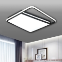 Concise Modern Trapezoid Shade Flushmount with Square Ring Acrylic LED Ceiling Fixture in Warm/White