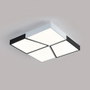 Square Shape LED Ceiling Lamp with 4 Trapezoid Simple Concise Metallic Flush Light in Black and White