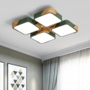 Modernism Quadrate LED Ceiling Fixture Wooden Flush Mount Light in Olive for Bedroom