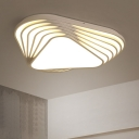 Contemporary Multi-Layer Flush Mount with Triangle Acrylic LED Ceiling Lamp in White for Bedroom