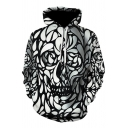 Unique Cool 3D Skull Printed Long Sleeve Black and White Drawstring Hoodie