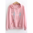 Cute Cartoon Cat Embroidered Long Sleeve Pullover Loose Drawstring Hoodie for Juniors