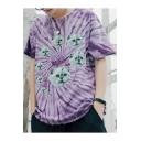 New Trendy Cool Tie Dye Cartoon Cat Print Loose Relaxed Hip Hop Purple T-Shirt