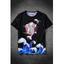 Ukiyo-e Carp Wave Print Round Neck Short Sleeve Guys Loose Black T-Shirt