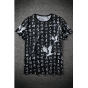 Chinese Style Chinese Character Crane Print Guys Summer Relaxed Black T-Shirt