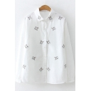 Cute Cartoon Rabbit Embroidered Long Sleeve Loose Fit Cotton White Shirt