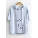 Cute Cartoon Bear Embroidered Pocket Patched Short Sleeve Drawstring Hooded T-Shirt