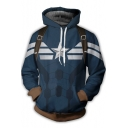 Captain America 3D Print Cosplay Costume Long Sleeve Blue Drawstring Hoodie