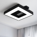 Linear Canopy Flush Mount with Black Square Contemporary Simple Metallic LED Ceiling Fixture