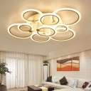 Modernism Thin Ring Indoor Lighting Acrylic 3/5/7/9 Lights LED Semi Flush Light Fixture in White for Sitting Room