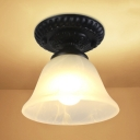 1 Light Bell Mini Ceiling Lamp Traditional Industrial Amber/White Glass Shade Semi Flush Light for Dining Room