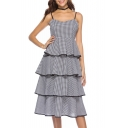 Women's Classic Fashion Black and White Plaid Printed Layered Midi A-Line Cami Cake Dress