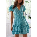 Summer Ethnic Floral Printed V-Neck Short Sleeve Tied Waist Mini A-Line Dress for Holiday