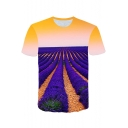 Round Neck Short Sleeve Cool 3D Lavender Print Fitted T-Shirt