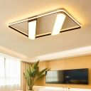 Modernism Rectangle Frame Flush Light Acrylic LED Ceiling Fixture in Black and White for Library