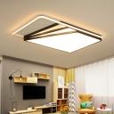 Black Geometric Shade Ceiling Lamp with Rectangle Metal Frame Post Modern Flush Light