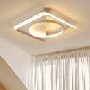 Silicon Gel Geometric LED Ceiling Fixture Minimalist Flush Light in White for Dining Room