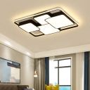 Simplicity Ultra Thin Flush Light with 4 Square Metallic LED Ceiling Light in Warm/White