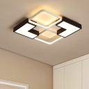 Metal Blocks Flush Lighting Creative Modern LED Ceiling Fixture in Remote Control Stepless Dimming