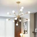 Nordic Modern Linear Suspended Light Metallic 6/8/12 Heads Chandelier Lamp in Gold