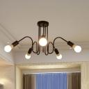 5 Lights Gooseneck Hanging Light Fixture Post Modern Metal Art Deco Lamp Light in Black