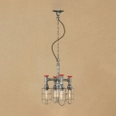 5 Lights Caged Chandelier Light Vintage Metal Suspended Light in Antique Bronze/Antique Silver