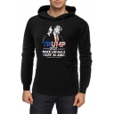 Popular Letter Figure 45th U.S. President Pattern Black Long Sleeve Loose Fit Hoodie