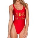 Unique Pineapple Letter ALOHA BEACHES Printed Scoop Neck Slim One Piece Swimsuit for Women