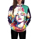 Fancy Watercolor Marilyn Monroe Figure Print Pullover Loose Fit Drawstring Hoodie