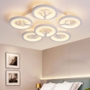 3/6 Lights Circular Ceiling Fixture with Tree Design Modern LED Semi Flushmount in White with Metal Canopy