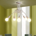 White Twisted Semi Flush Light with Open Bulb Post Modern Iron 5 Heads Ceiling Fixture