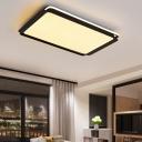 Modern Design Rectangle Flushmount Acrylic Shade LED Flush Light Fixture in Black for Living Room