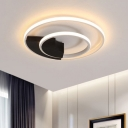 Dual Ring LED Flushmount Nordic Style Metal Ceiling Light in Warm/White for Sitting Room