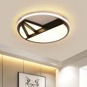 Geometric Pattern LED Flushmount Nordic Style Acrylic Decorative Ceiling Light in Warm/White