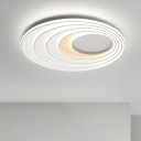 White Ripple Style Ceiling Fixture Modernism Metal LED Flush Mount Light for Hotel Hall