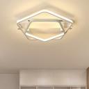 2 Pentagon LED Semi Flush Mount Modern Fashion Aluminum Ceiling Lamp in White for Children