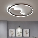 Brown Single Ring Ceiling Fixture Modern Fashion Acrylic Decorative LED Flush Light for Bedroom