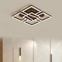 Metallic Squared LED Lighting Fixture Modernism Flush Light in Warm/White for Corridor