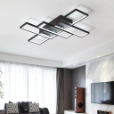Black Linear LED Ceiling Lamp Contemporary Minimalist Silicon Gel Flush Light for Living Room