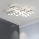 Modern Ultra Thin LED Flush Ceiling Light with Rectangle Frame Metal Lighting Fixture in White
