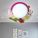 Cute Pink Snail Flush Light Fixture Acrylic Eye Protection LED Ceiling Lamp for Girls Room