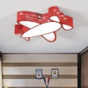 Blue/Red Prop Plane Flush Mount Metallic LED Lighting Fixture for Boys Girls Room