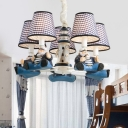Dark Blue Trellis Chandelier Lighting with Lighthouse Fabric Shade 5 Heads Hanging Lamp for Kids