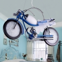 Blue Motorcycle Suspended Light Metallic Triple Heads Eye Protection Hanging Lamp for Boys Bedroom