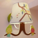 Bird Design Wall Mount Light Kids Children Room Single Light Wall Lamp with Coolie Fabric Shade