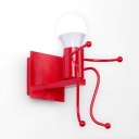Metallic Bare Bulb Wall Mount Light Kindergarten Single Light Decorative Wall Lamp in Red